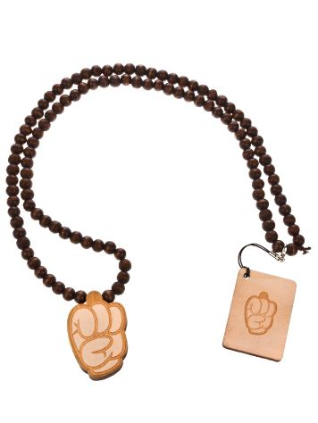 Wood Fellas Comic Fist/wheat Necklace