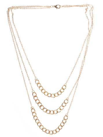 Stone and Locket Gold 3 Tiered Chain Necklace