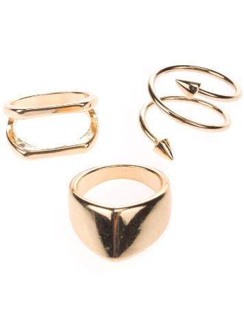 Stone and Locket Gold Arrow Ring