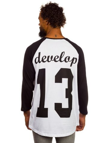 develop White Baseball College T-Shirt LS