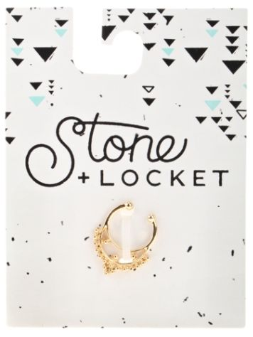 Stone and Locket Gold Faux Septum Nose Ring