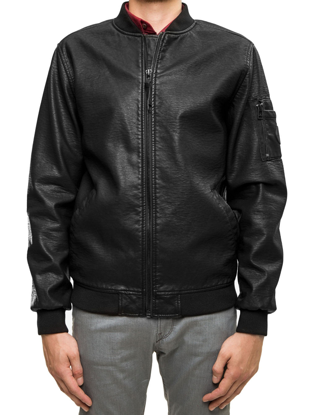 Artificial Leather Bomber Jacket