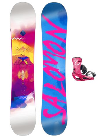 Salomon Lotus 142 + Rhythm Pink 2017 Snowboard Set