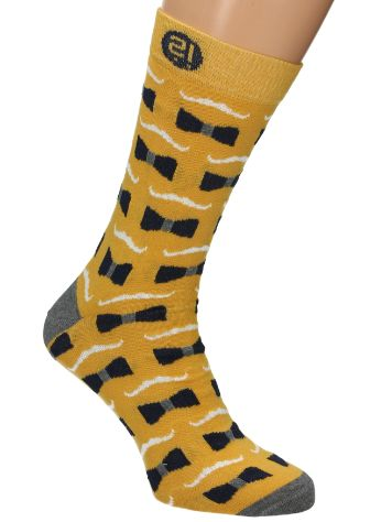 Wams Yellow Mustache Socks