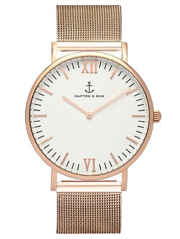 Kapten&Son Campina Rose Gold Silver White 36mm Horloge