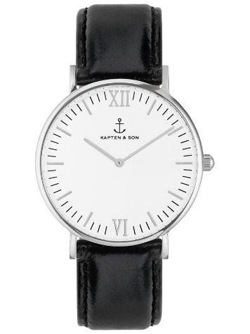 Kapten&Son Campina Black Suede Leather White 36mm Horloge